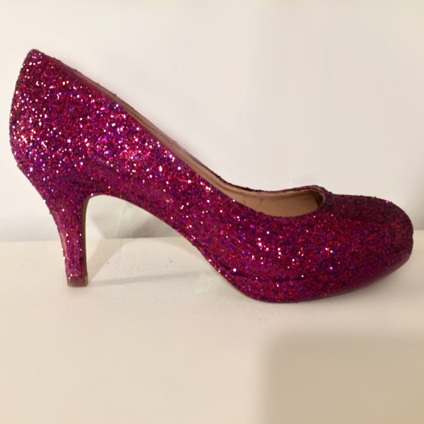 Sparkly Wine Sangria Glitter low Heel Wedding Bride sweet 16 prom shoes