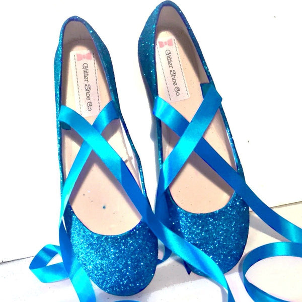 Sparkly Teal Blue Green Glitter Ballet Flats shoes wedding bride Womens Satin Tie up Bow