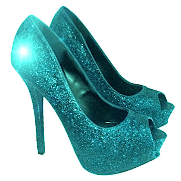 Women's Sparkly Aqua Green Blue Glitter Peep Toe pumps heels wedding bride shoes