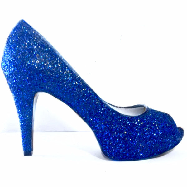 Sparkly Royal Blue Glitter Peep Toe Pumps high low Heels Wedding bride