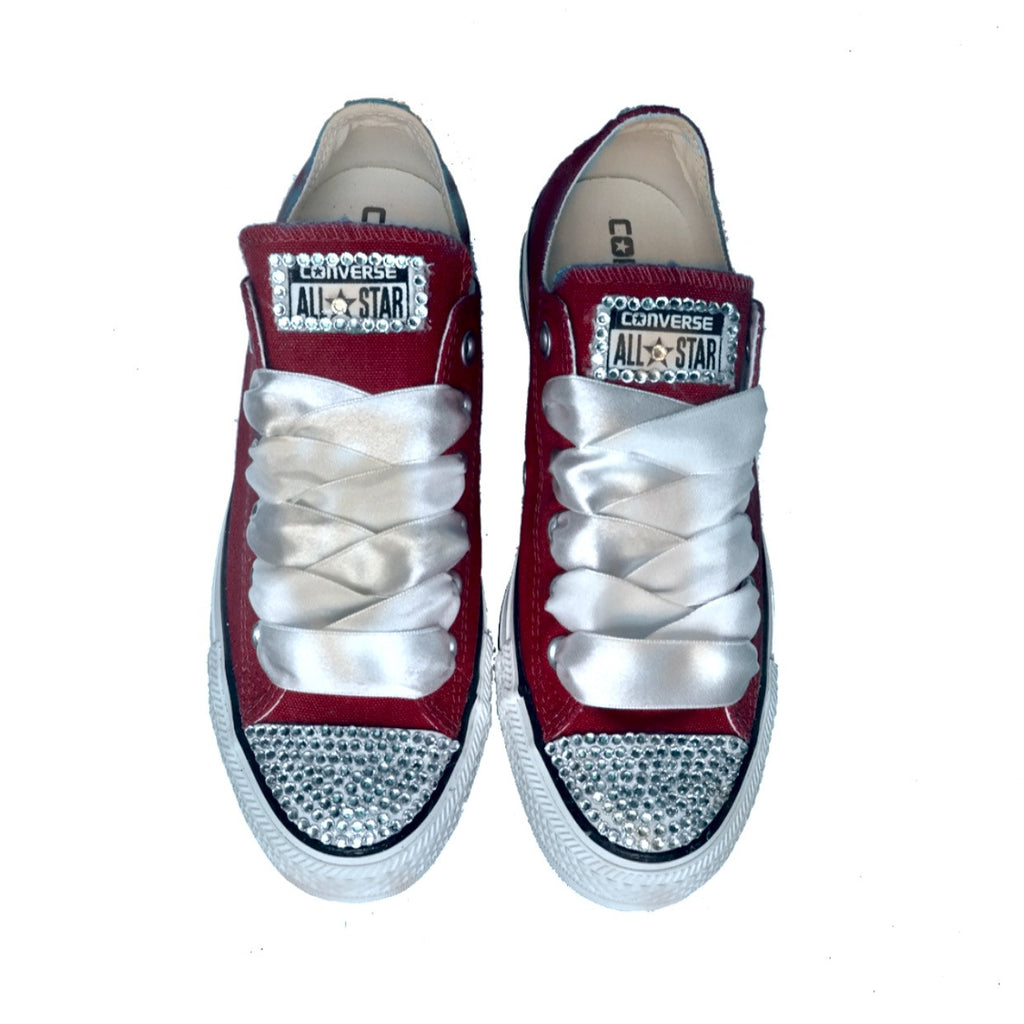 22da9bccf402 Crystals Bling Converse All Stars Burgundy Maroon Red wedding bride –  Glitter Shoe Co