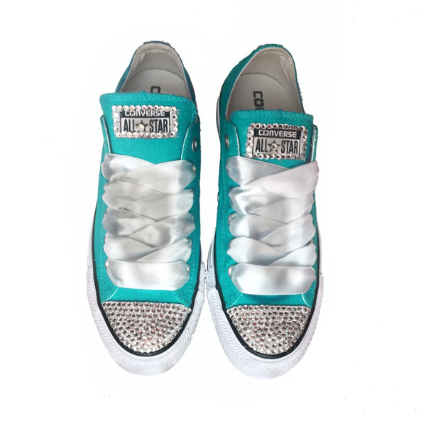 Women's Wedding Converse All Star Crystals Sneakers Shoes Menta Green Bride wedding gift