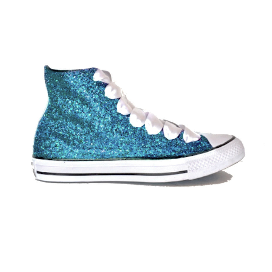 Sparkly Converse Shoes Green Blue