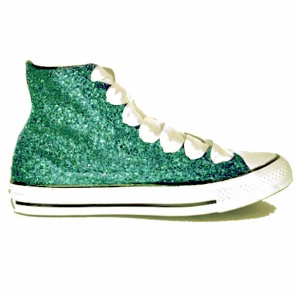 Womens Sparkly Glitter Converse All Stars Teal Green Blue High Top wedding bride shoes