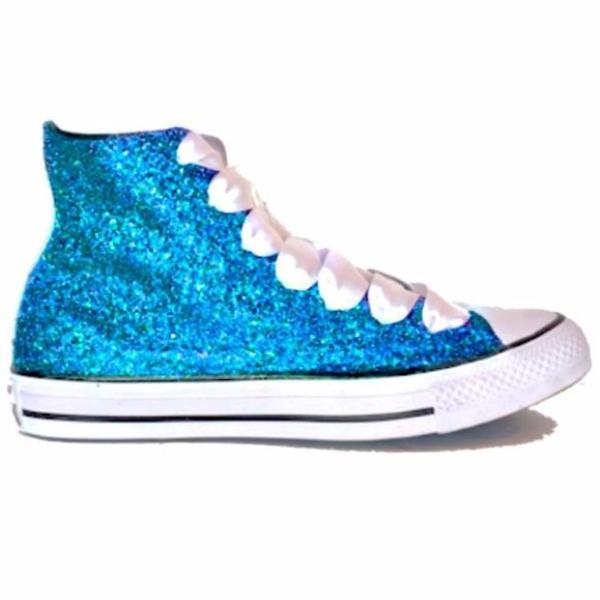 Womens Sparkly Glitter Converse All Stars Turquoise Malibu Blue High Top wedding bride shoes