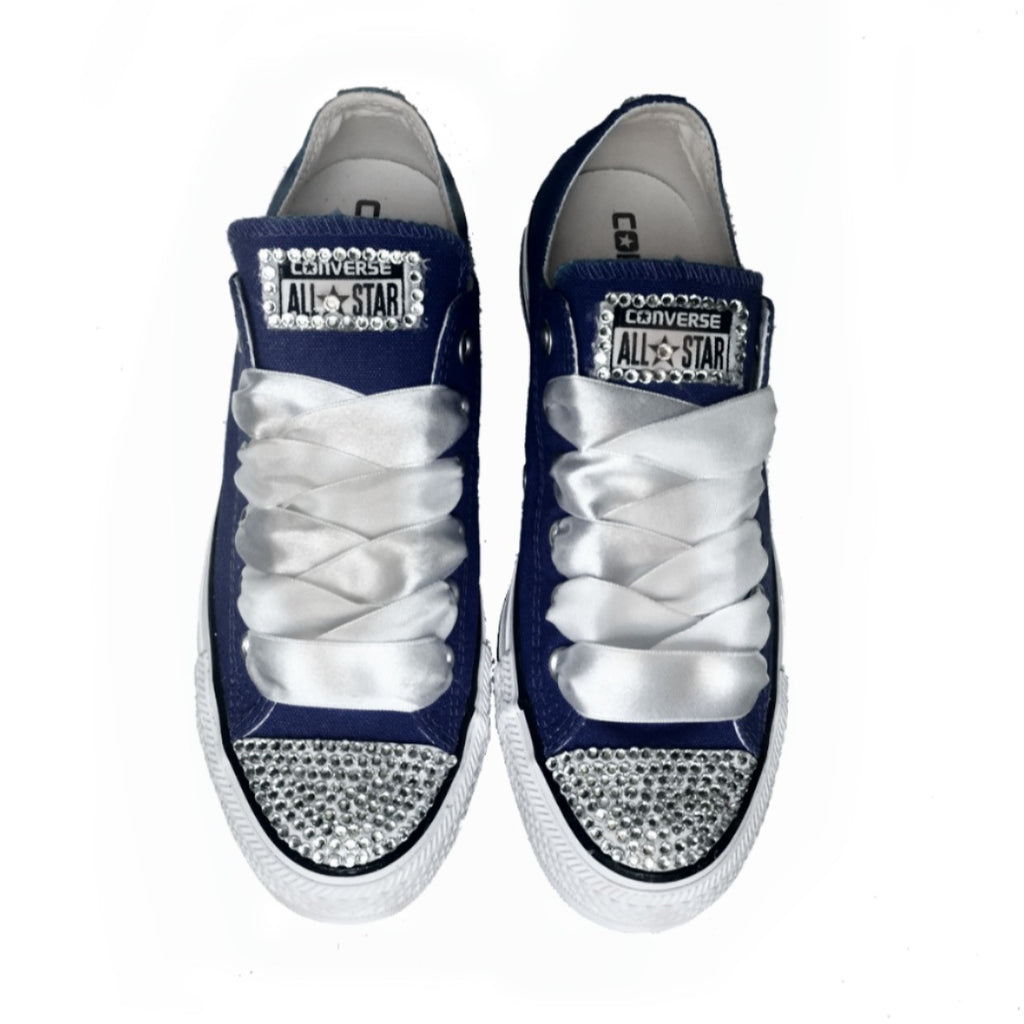 98bf5179e365 Wedding Converse All Star Crystals Sneakers Shoes Navy Blue Bride prom –  Glitter Shoe Co