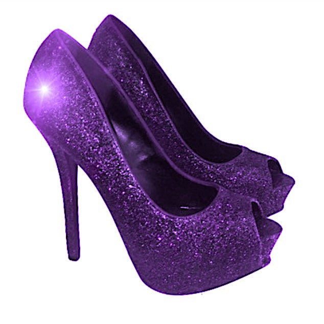 2016e267a5b2 Women s Sparkly Purple Glitter Peep Toe Heels Pumps wedding bride shoes  Prom Bridesmaid