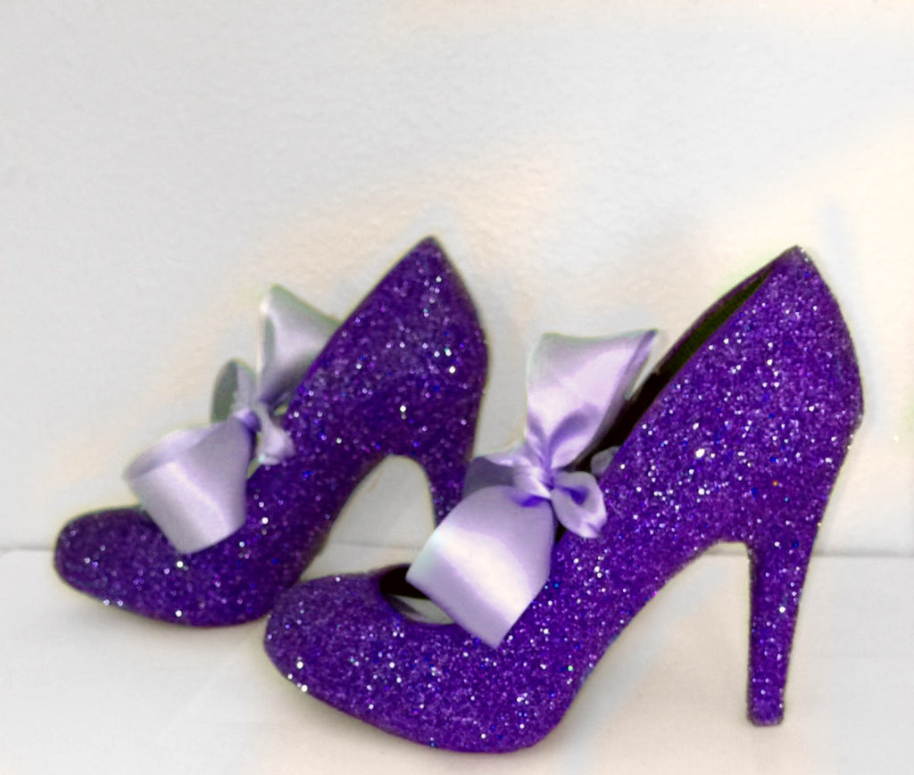 Women's Royal Purple Glitter high & Low Heels wedding bride Pumps shoes satin ribbon bow