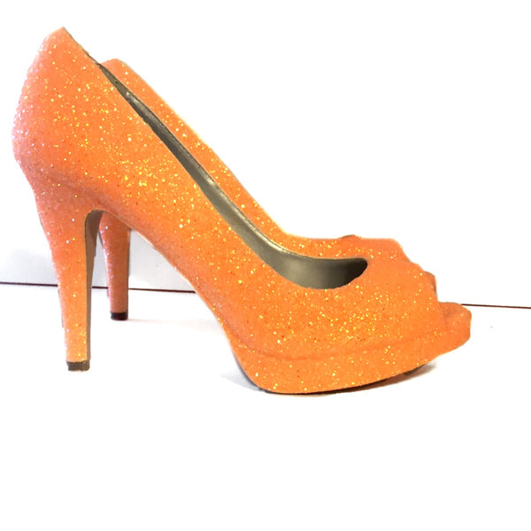 Women's Sparkly Tangerine Orange Glitter Pumps high low Heels Wedding bride Shoes
