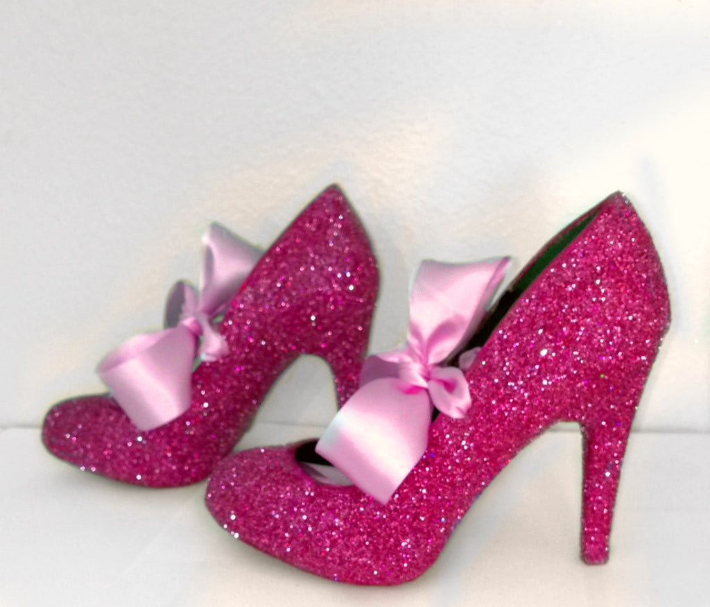 Women's Fuchsia Pink Glitter high & Low Heels wedding bride Pumps shoes satin ribbon bow