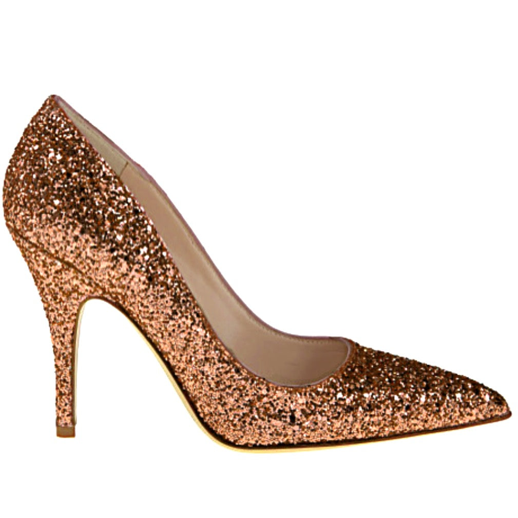 Women's Sparkly Glitter Heels Pointed Toe Pumps Shoes -Copper Bronze