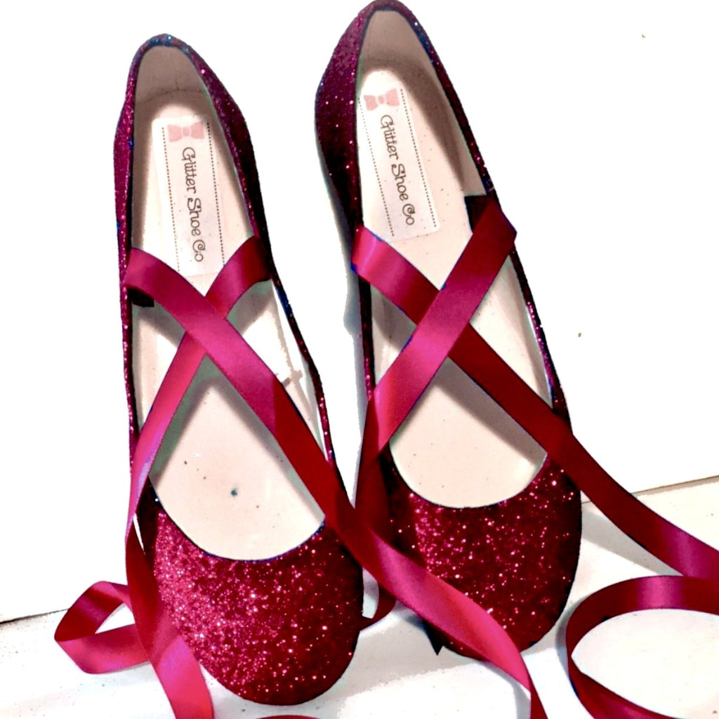 818e9664755 ... Sparkly Maroon Burgundy Glitter Ballet Flats shoes wedding bride Womens  Satin Tie up Bow