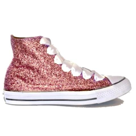 5c0b91a6802f ... Womens Glitter Crystals Converse All Stars Metallic Rose Gold Pink Prom  Wedding Bride Shoes Sneakers ...