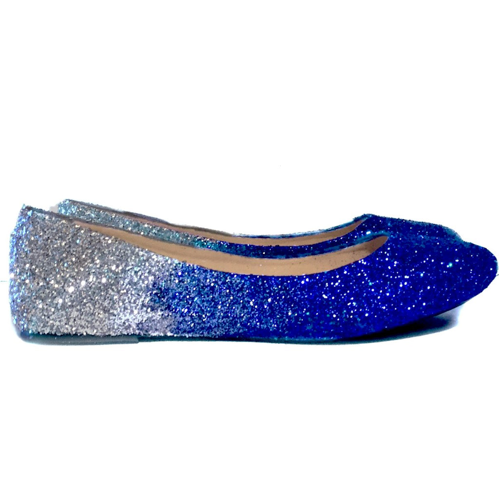 Womenu0027s Sparkly Royal Blue Silver Ombre Glitter Ballet Flats Wedding Bride Bridesmaid  Shoes
