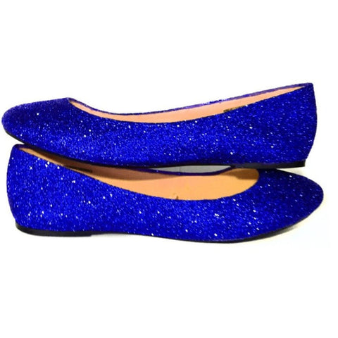 Sparkly Royal Blue Glitter Ballet Flats shoes wedding bride Prom Graduation Sweet 16 Bridal - Glitter Shoe Co