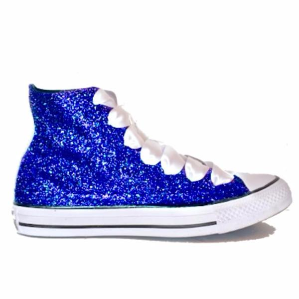 Womens Sparkly Glitter Converse All Stars Royal Blue High Top wedding bride shoes