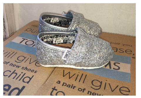 Kids Sparkly Glitter Toms Flower Girl wedding bridal Shoes Silver White Blue Pink Purple