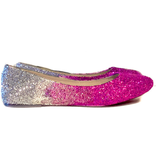 Women's Sparkly Pink Silver Ombre Glitter Ballet Flats Wedding Bride Bridesmaid Shoes