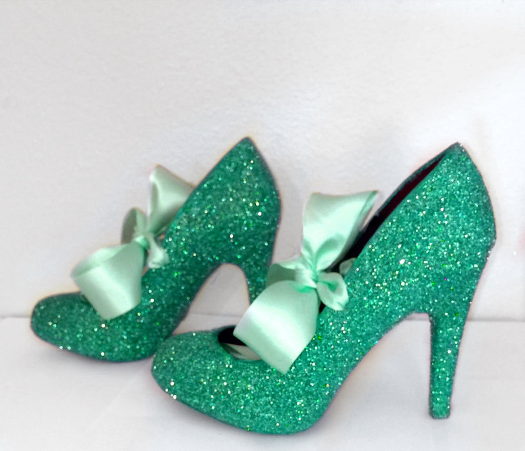 Women's Spearmint Green Glitter high & Low Heels wedding bride Pumps shoes satin ribbon Joker