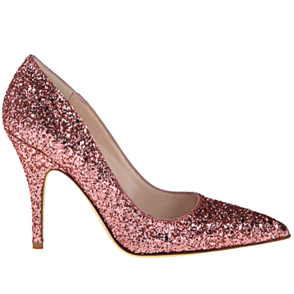 Women's Sparkly Glitter Heels Pointed Toe Pumps Shoes Rose Gold