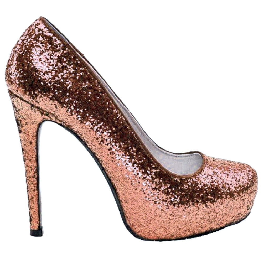 Women s Sparkly Metallic Rose Gold Pink Glitter Heels Wedding Bride sweet  16 prom shoes 4f6a73cf2f