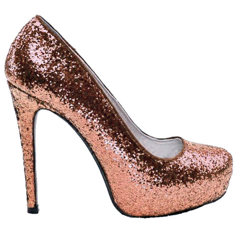 Women's Sparkly Metallic Rose Gold Pink Glitter Heels Wedding Bride sweet 16 prom shoes