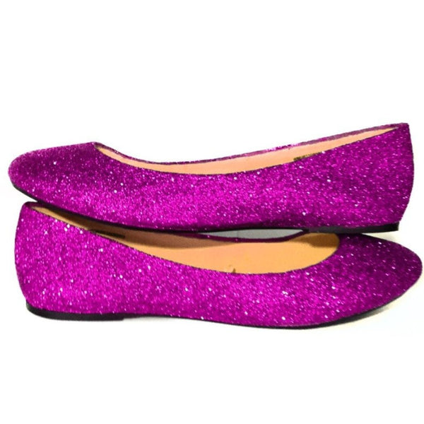 Women's Sparkly Fuchsia  PINK Glitter Ballet Flats Wedding Bride Princess Prom Shoes