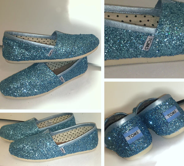 Sparkly Glitter Toms Cinderella Blue fairytale Wedding Bride Shoes Christmas