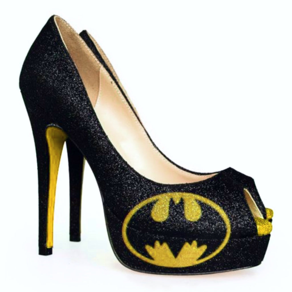 ... Women s Sparkly Batman SuperHero black yellow gold Glitter peep toe  Heels wedding bride shoes ... 818e0824f1