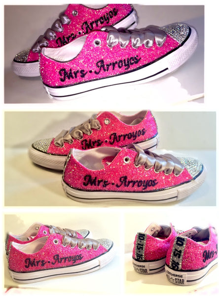 Sparkly Hot Pink Navy Glitter Crystals Converse All Stars Shoes Personalized wedding bride - Glitter Shoe Co