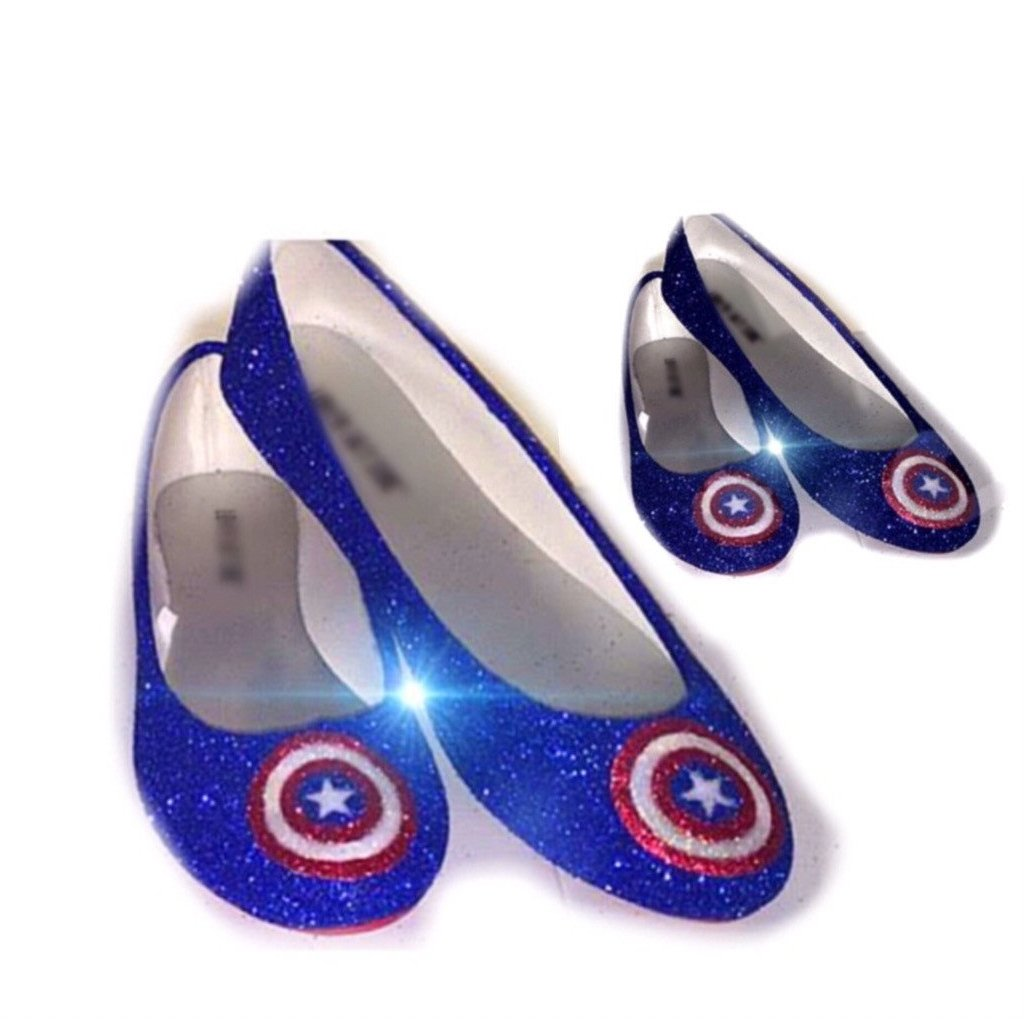 Sparkly SuperHero royal blue navy Glitter ballet flats shoes Captain ... c20ea32cda5b