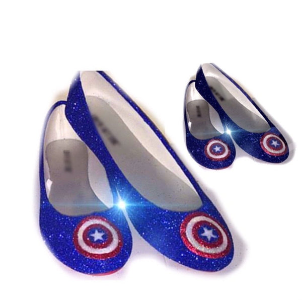 Sparkly SuperHero royal blue navy Glitter ballet flats shoes Captain America wedding bride - Glitter Shoe Co