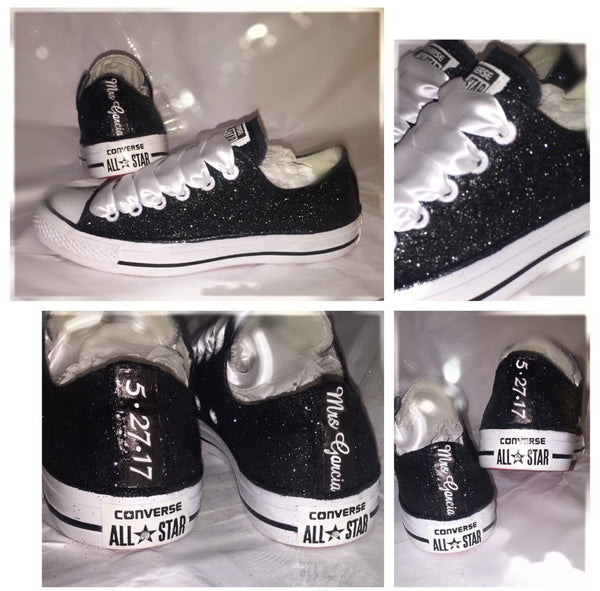 Sparkly Black White Glitter Converse All Stars Bride Wedding Shoes prom