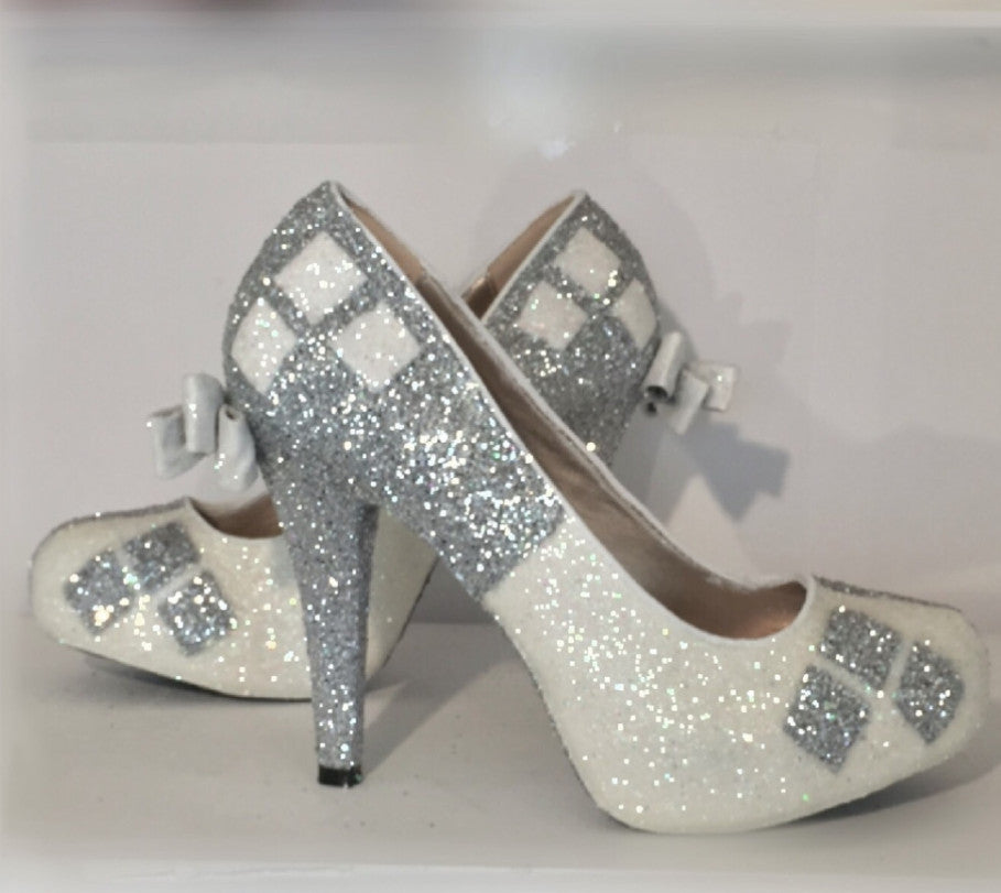 Sparkly SuperHero White Or Ivory Glitter High Low Heels Stiletto Shoes Harley Quinn Wedding Bride