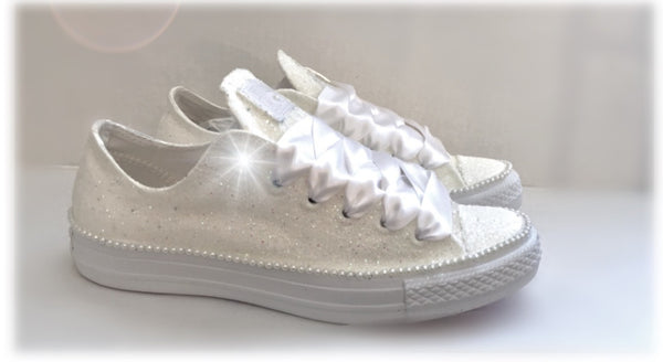 Sparkly White Ivory Glitter Converse All Stars Bride shower gift Wedding