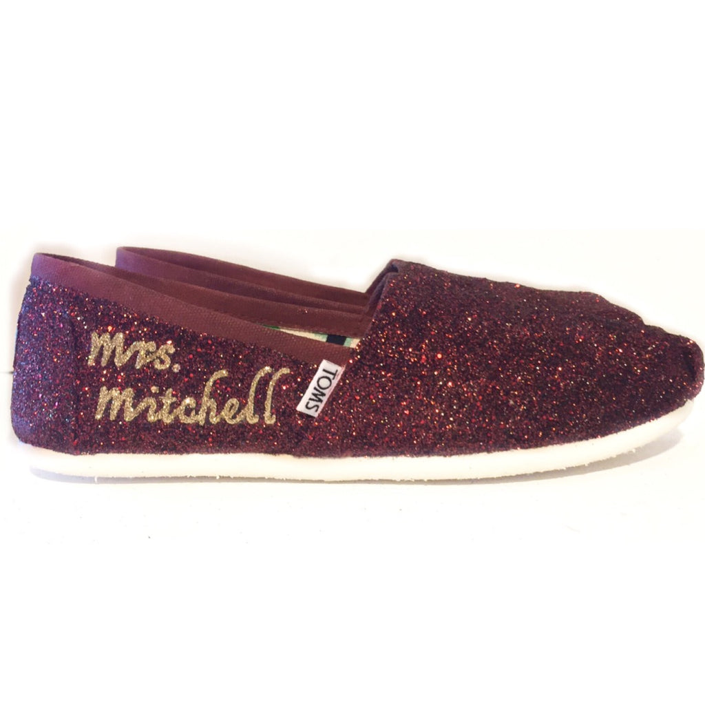 ff8fb69df3c2 Womens Sparkly Glitter Toms Flats shoes Bride Wedding Burgundy Maroon  champagne gold