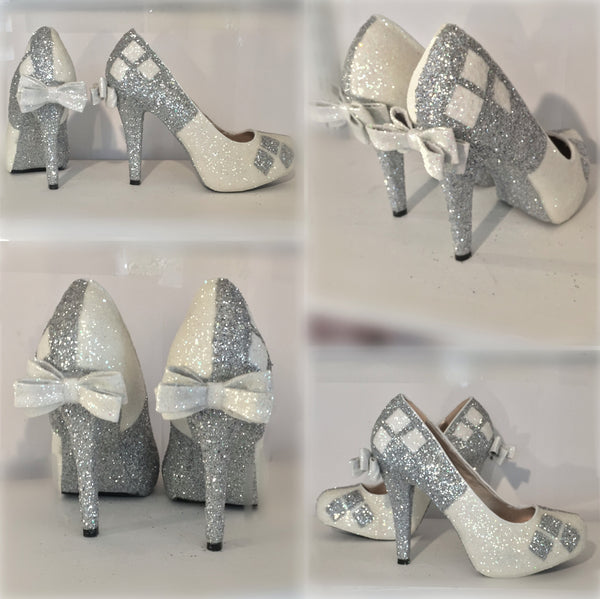 Women's Sparkly SuperHero white or Ivory Glitter high & low Heels Stiletto shoes Harley Quinn wedding bride