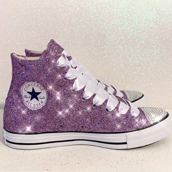 Women's Sparkly Glitter Converse All Stars High Top Lavender Purple - Glitter Shoe Co