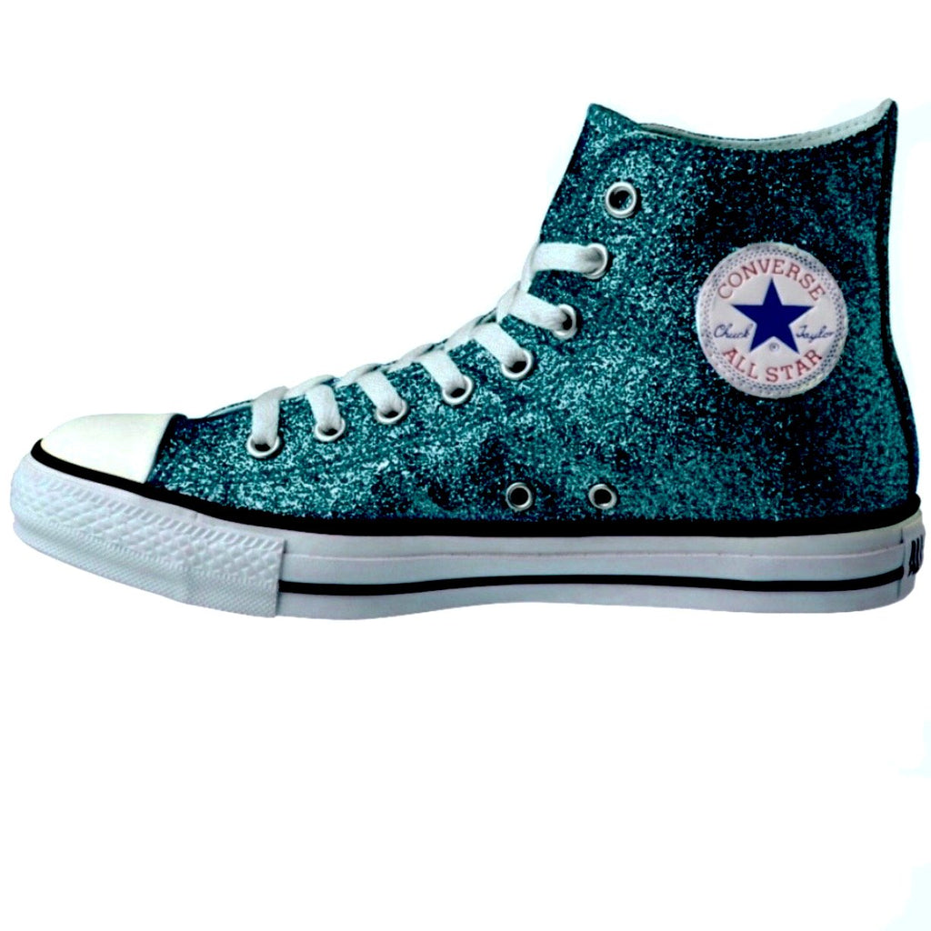 Women's Sparkly Glitter Converse All Stars High Top - Teal