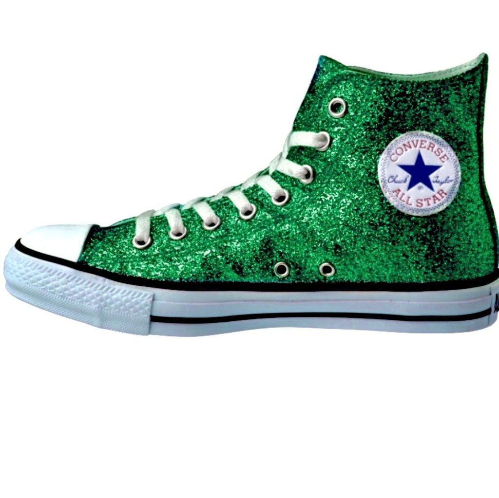 Women's Sparkly Glitter Converse All Stars High Top - Green
