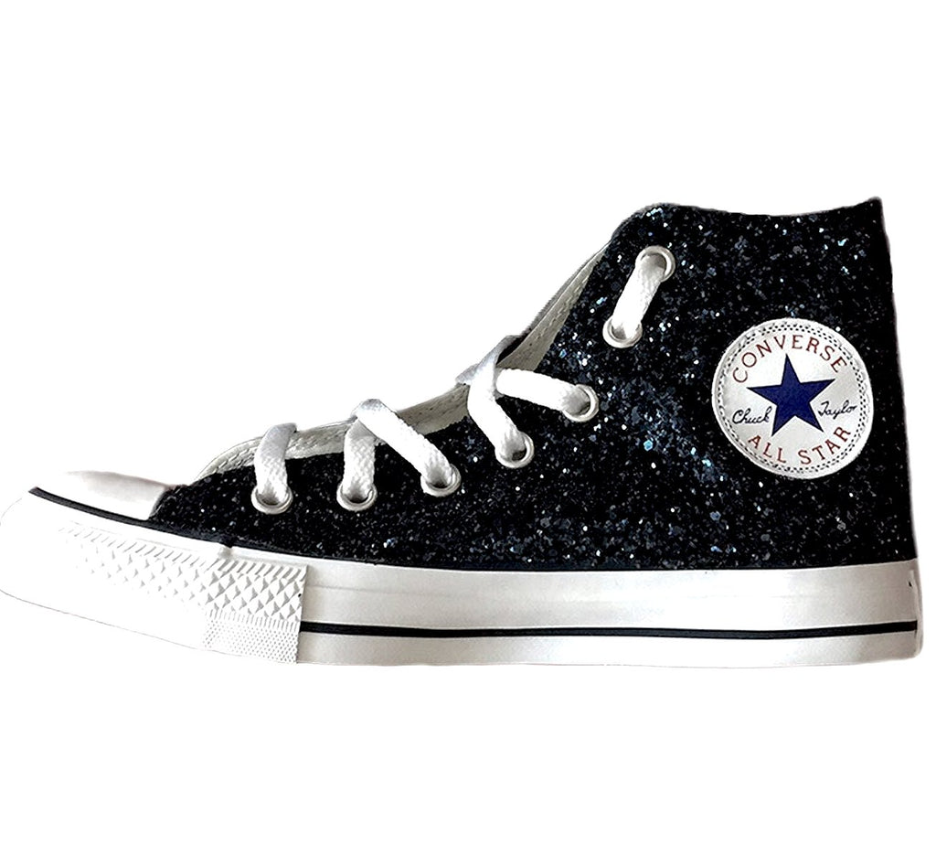5db97a30428d5b Womens Black Glitter Crystals Converse All Stars high top Shoes ...