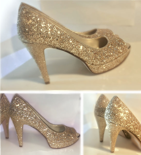 Sparkly Glitter Champagne Gold Peep toe Heels Wedding Bride Shoes - Glitter Shoe Co