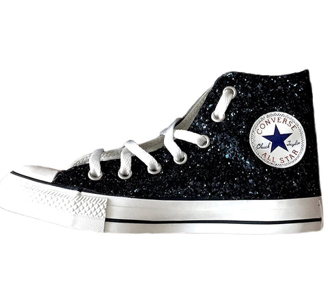Women's Sparkly Glitter Converse All Stars High Top - Black