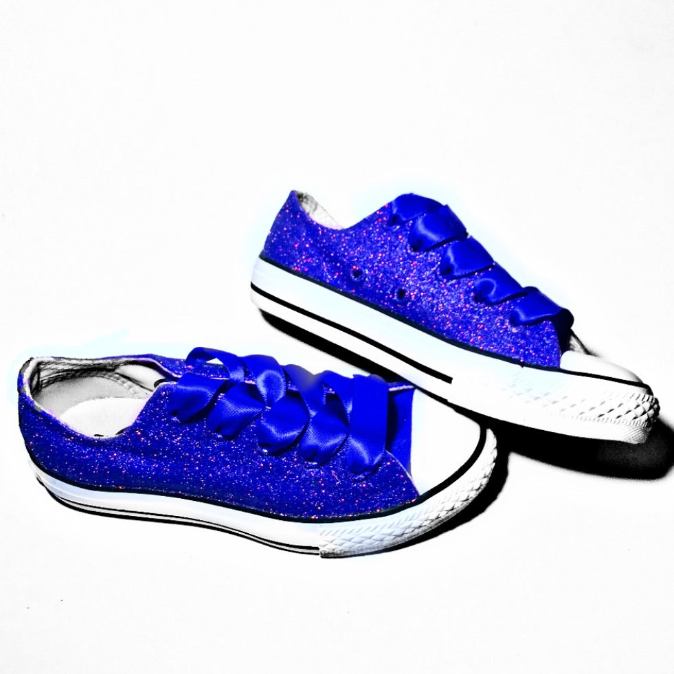 4ae7bb79401 ... Kids Sparkly Glitter Converse All Stars low Bling Sneakers Shoes Royal  Blue ...
