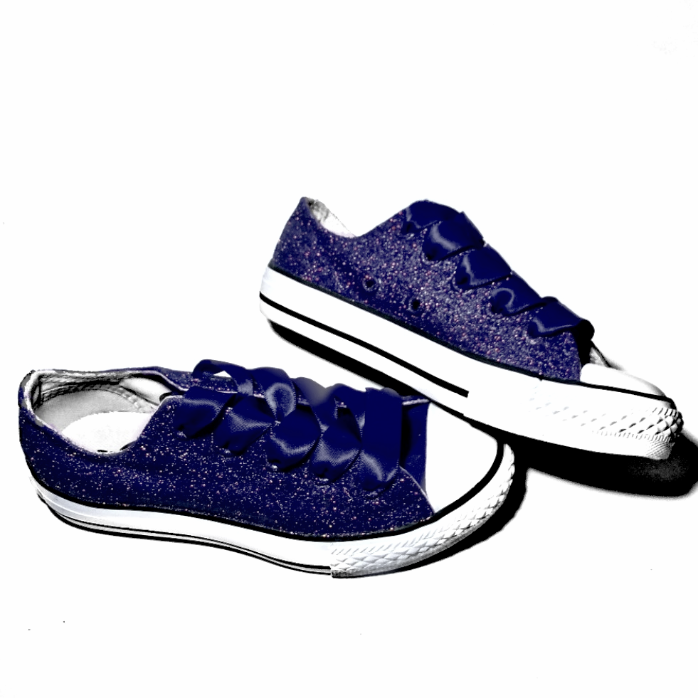 6051fd949420e ... Kids Sparkly Glitter Converse All Stars low Bling Sneakers Shoes Navy  Blue ...