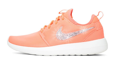 359f65fba Womens Nike Shoes Swarovski Crystals Roshe Two - atomic Pink   White - Glitter  Shoe Co