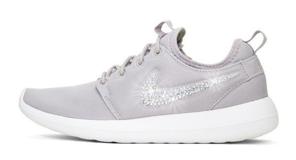 Womens Nike Shoes Swarovski Crystals Roshe Two - Grey / White - Glitter Shoe Co