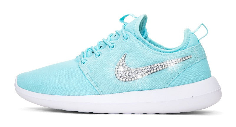 Womens Nike Shoes Swarovski Crystals Roshe Two Blue   White - Glitter Shoe  Co a65408509