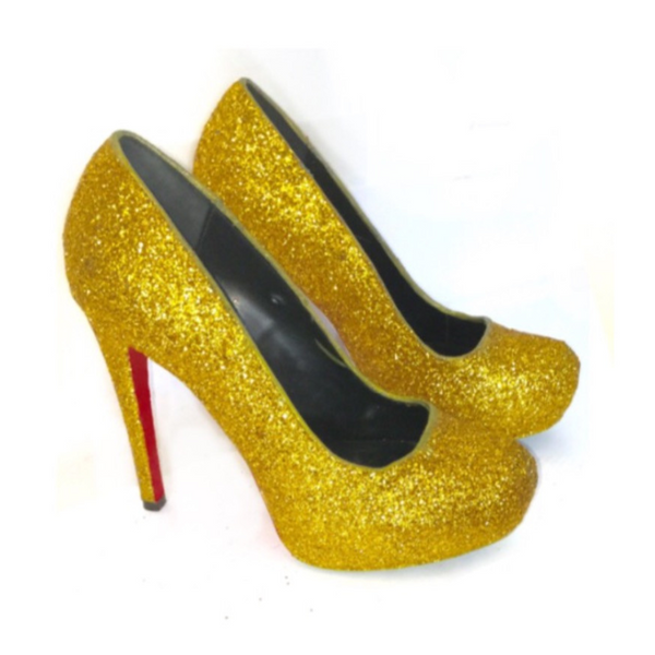 Sparkly Gold Glitter High or low heels Red Bottom Soles Wedding Bride Prom Shoes - Glitter Shoe Co