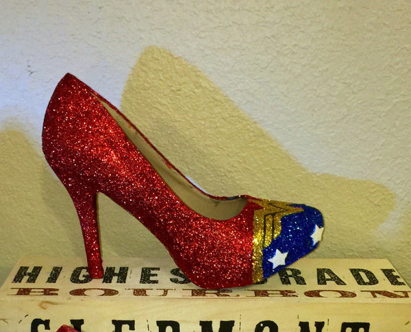Women's Sparkly Wonder Woman SuperHero Glitter heels shoes wedding bride gift